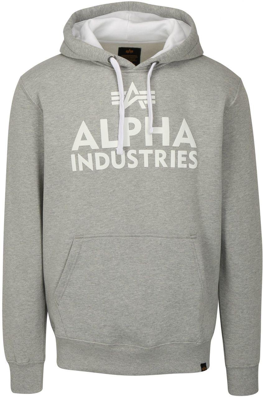 Sivá pánska mikina s kapucňou ALPHA INDUSTRIES značky Alpha Industries -  Lovely.sk 5bb647a449b