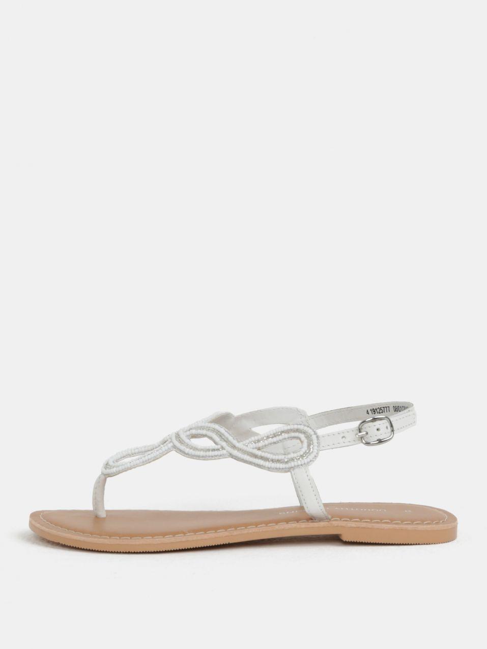 452e6aaceed1 Biele kožené sandále s ozdobnými korálkami Dorothy Perkins značky Dorothy  Perkins - Lovely.sk