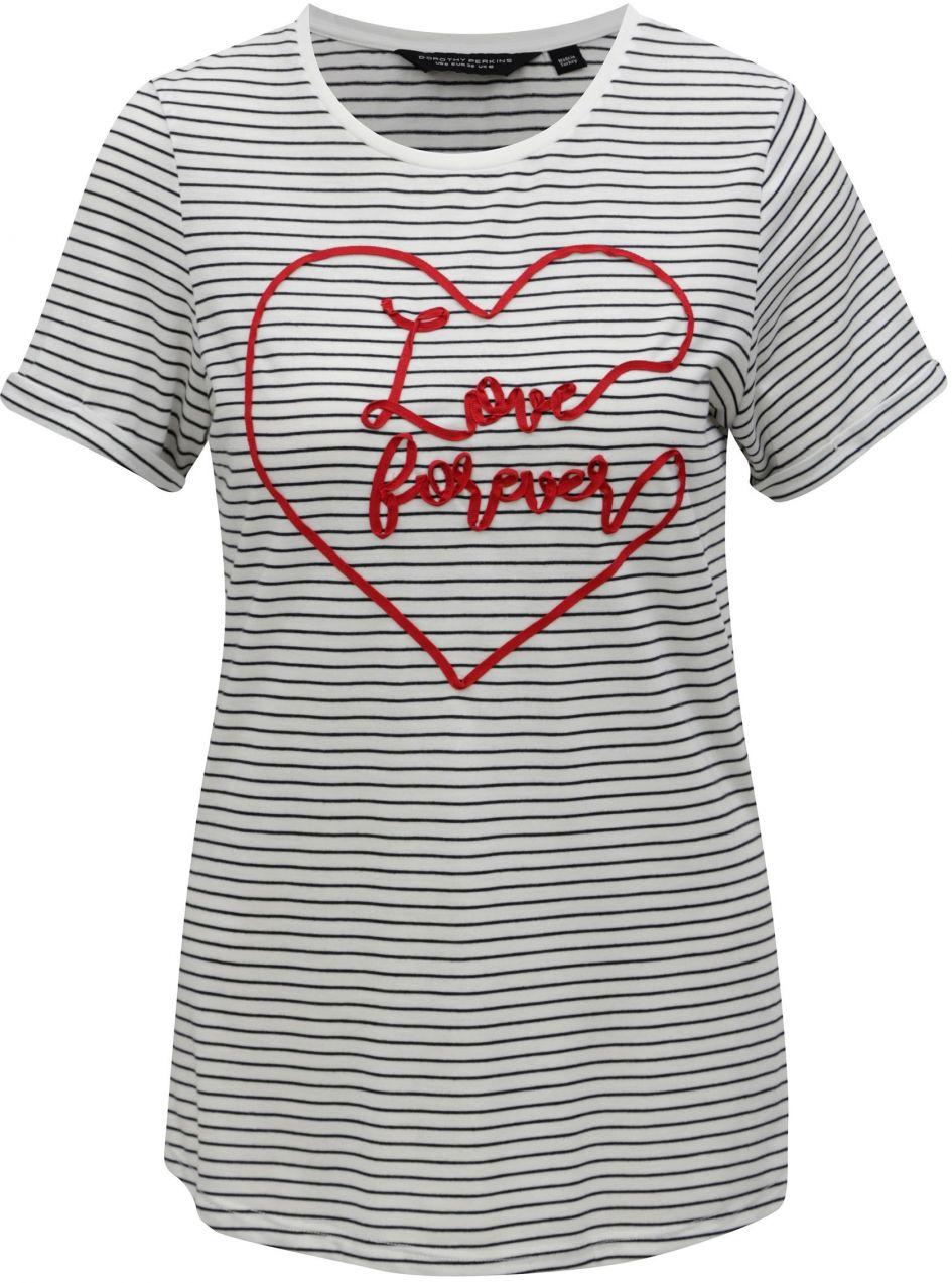 97f6512407a6 Biele pruhované tričko s krátkym rukávom Dorothy Perkins značky ...