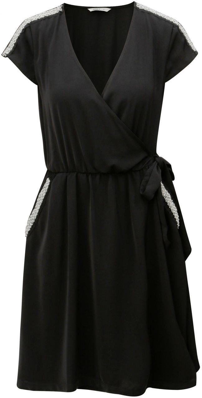 fb8847895f95 Čierne zavinovacie šaty s ozdobnou aplikáciou ONLY Scarlett značky ...