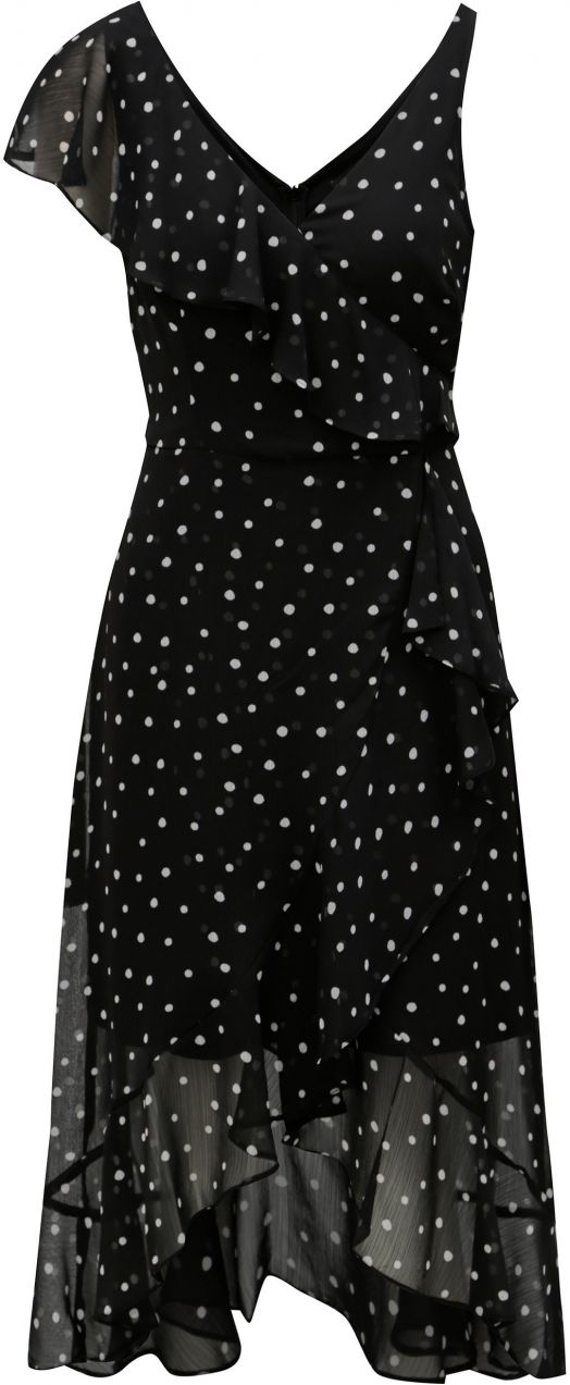 f88e8d59fb1c Čierne bodkované midišaty s volánmi Dorohy Perkins značky Dorothy Perkins -  Lovely.sk