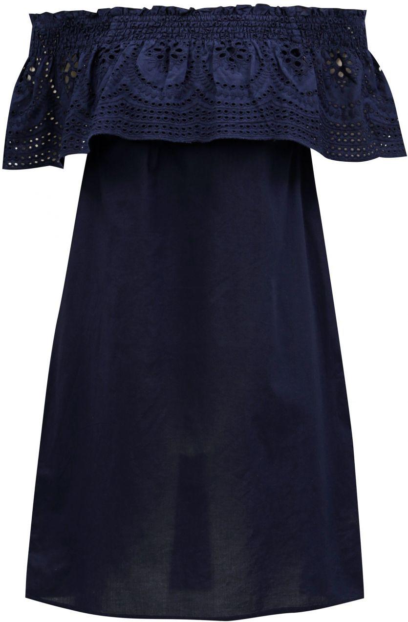 Tmavomodré šaty s odhalenými ramenami a madeirou Dorothy Perkins značky Dorothy  Perkins - Lovely.sk 3b48b0a333e