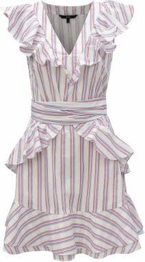 a92663e43211 Biele pruhované šaty s volánmi VERO MODA Gry