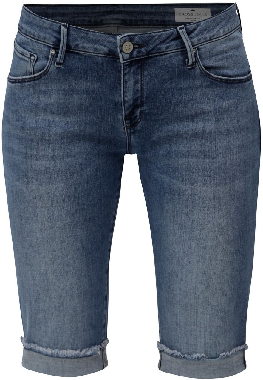 d6505a82e21a Modré dámske regular slim rifľové kraťasy s nízkym pásom Cross Jeans značky CROSS  JEANS - Lovely.sk