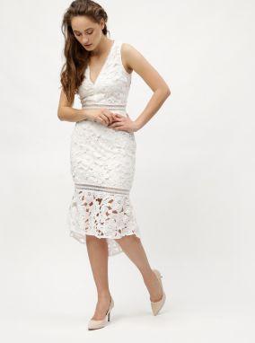 fa44df658149 Biele puzdrové čipkované šaty s volánom MISSGUIDED značky Missguided ...