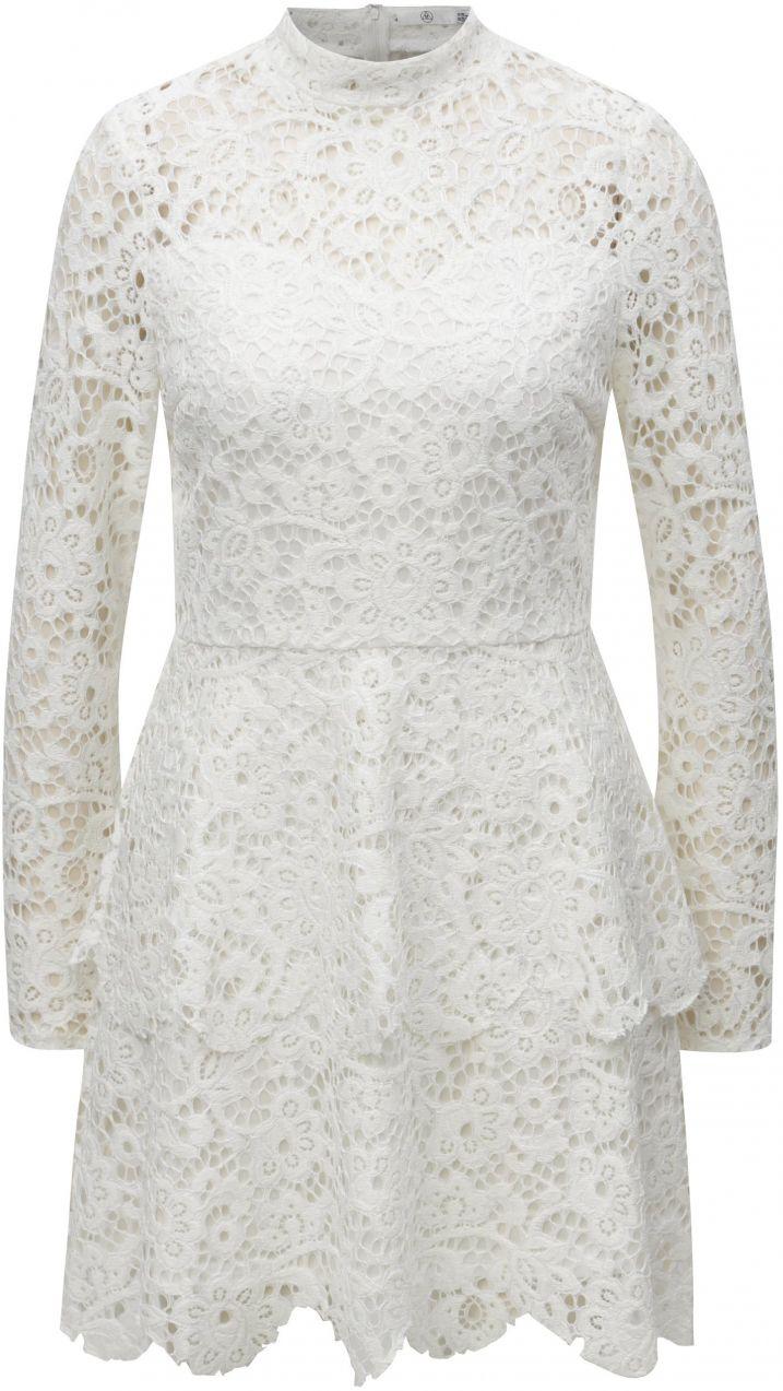b7eb3a2e20 Biele čipkované šaty s dlhým rukávom MISSGUIDED značky Missguided ...