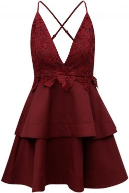 905aa833e807 Vínové šaty na ramienka s čipkou MISSGUIDED