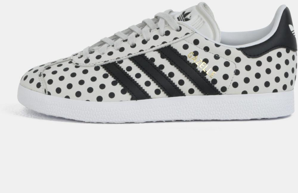 Sivé dámske bodkované kožené tenisky adidas Originals Gazelle značky ... 255647c110
