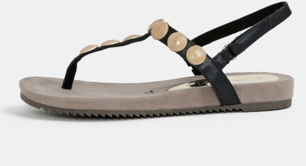 6935a4fdeaea Čierne sandále s aplikáciou v zlatej farbe Tamaris značky Tamaris ...