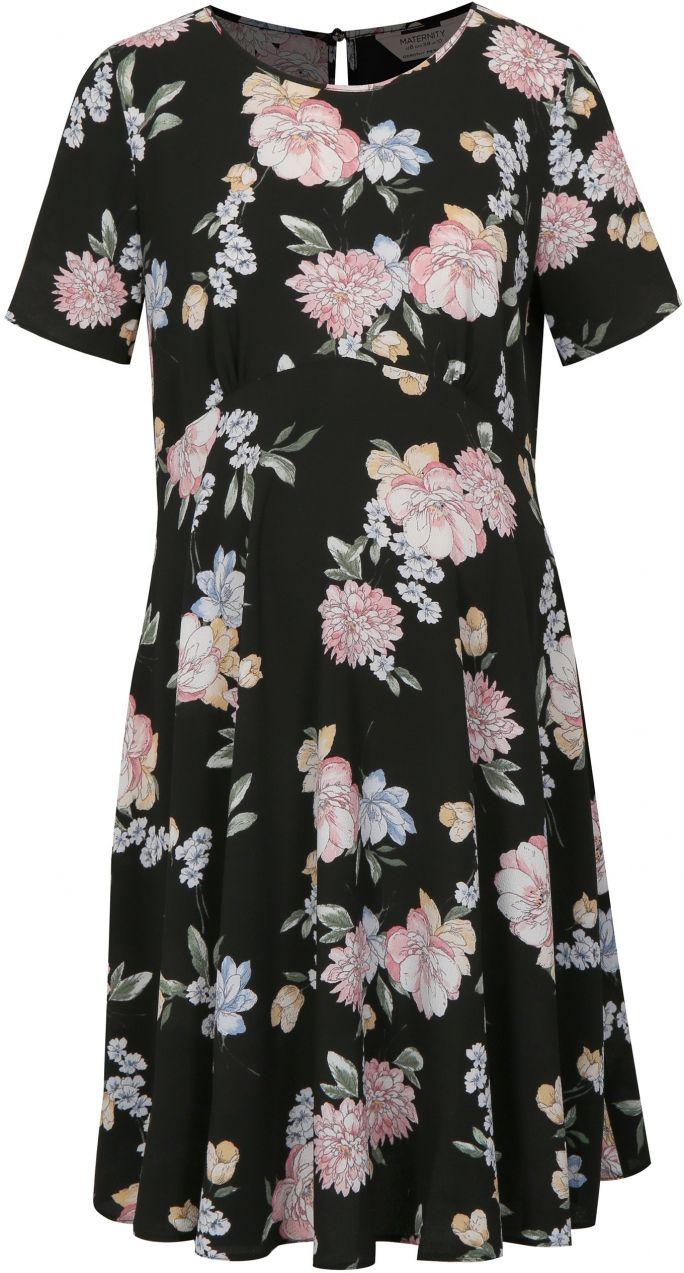 fa38ad089bf0 Čierne kvetované tehotenské šaty Dorothy Perkins Maternity značky Dorothy  Perkins Maternity - Lovely.sk