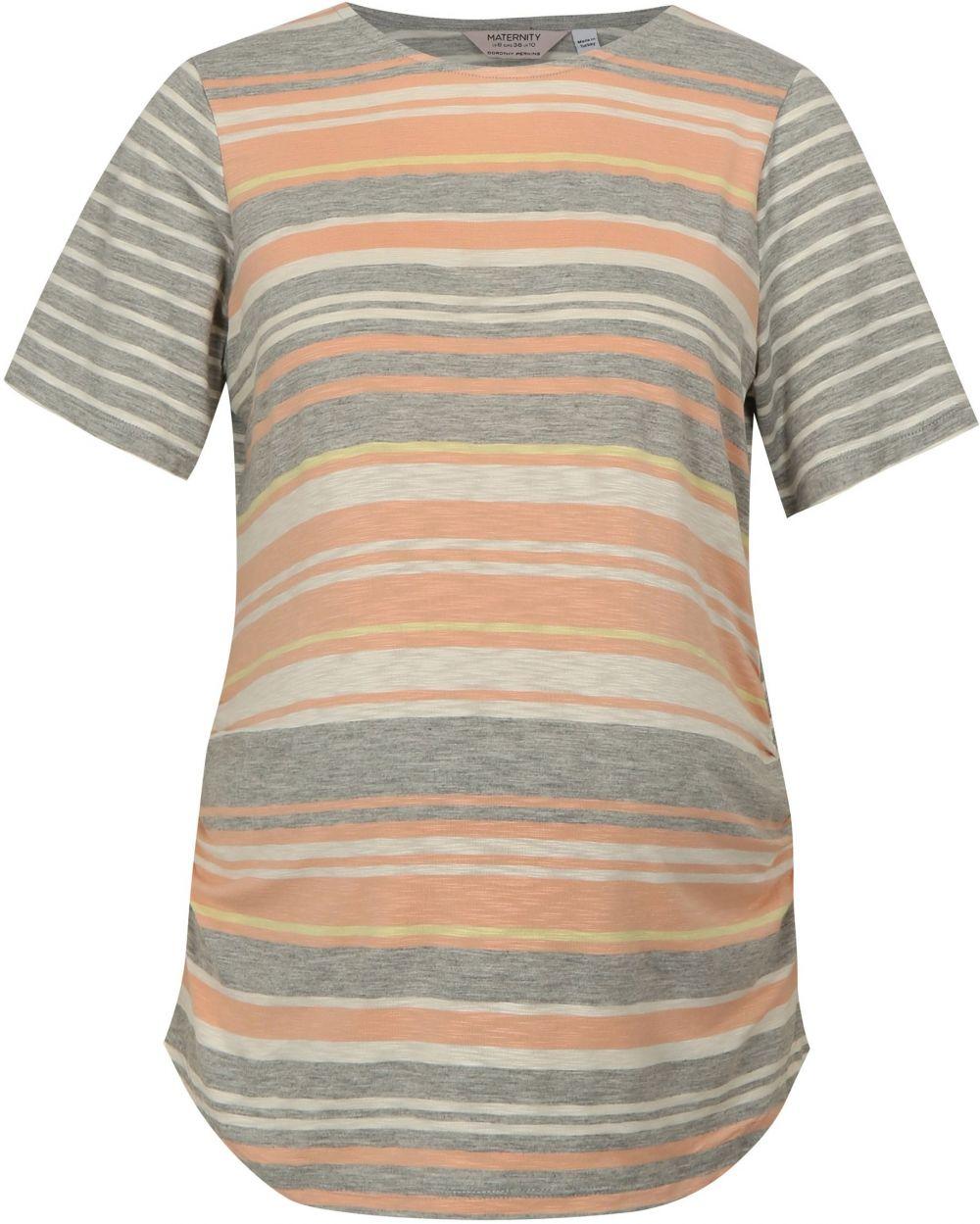 2bebfc14b4d0 Marhuľovo–sivé pruhované tehotenské tričko Dorothy Perkins Maternity ...