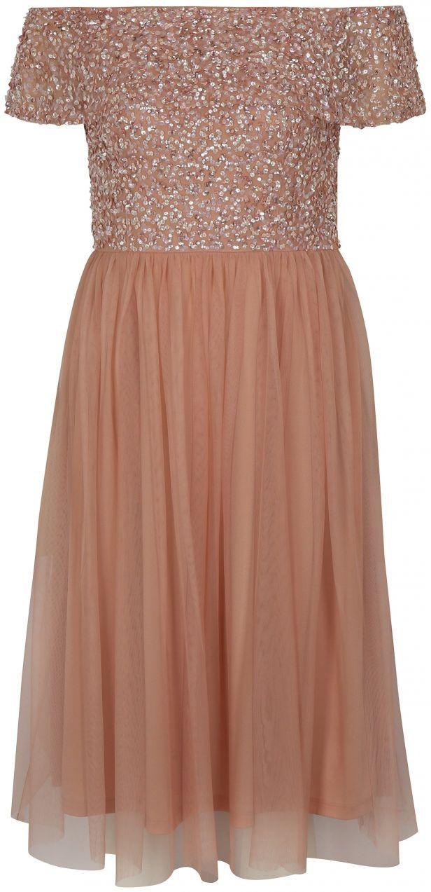 ba9de19c5078 Staroružové šaty s odhalenými ramenami a ozdobnými flitrami Dorothy Perkins