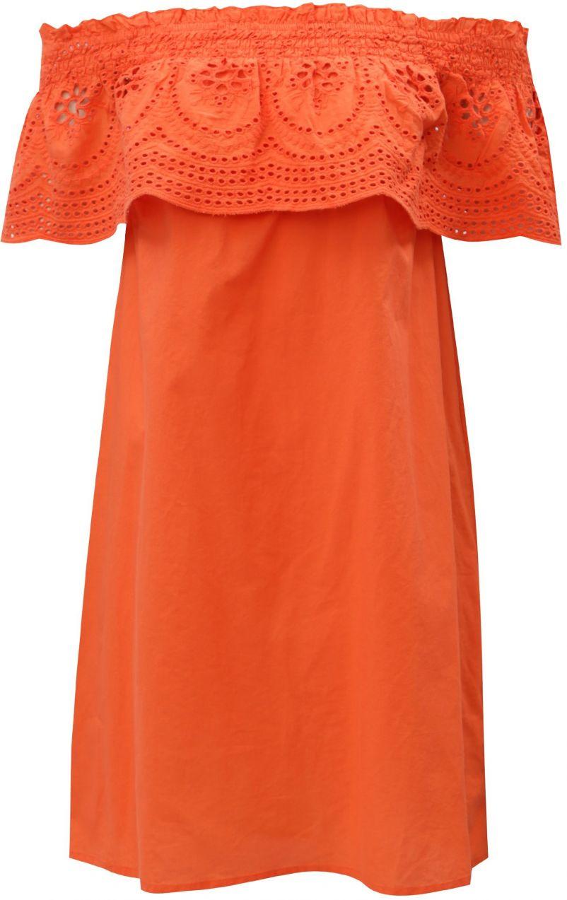 Oranžové šaty s odhalenými ramenami a madeirou Dorothy Perkins ... 9c53eb030ca