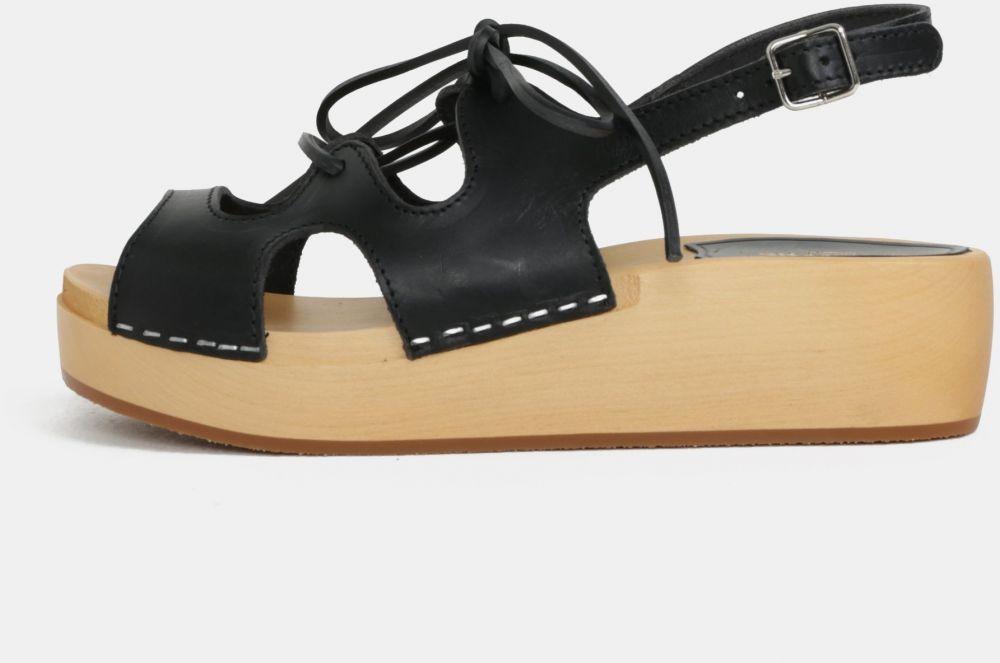 0b872f619876e Dreváky na platforme s čiernymi koženými remienkami Swedish Hasbeens Lace  Up Sandal značky Swedish Hasbeens - Lovely.sk