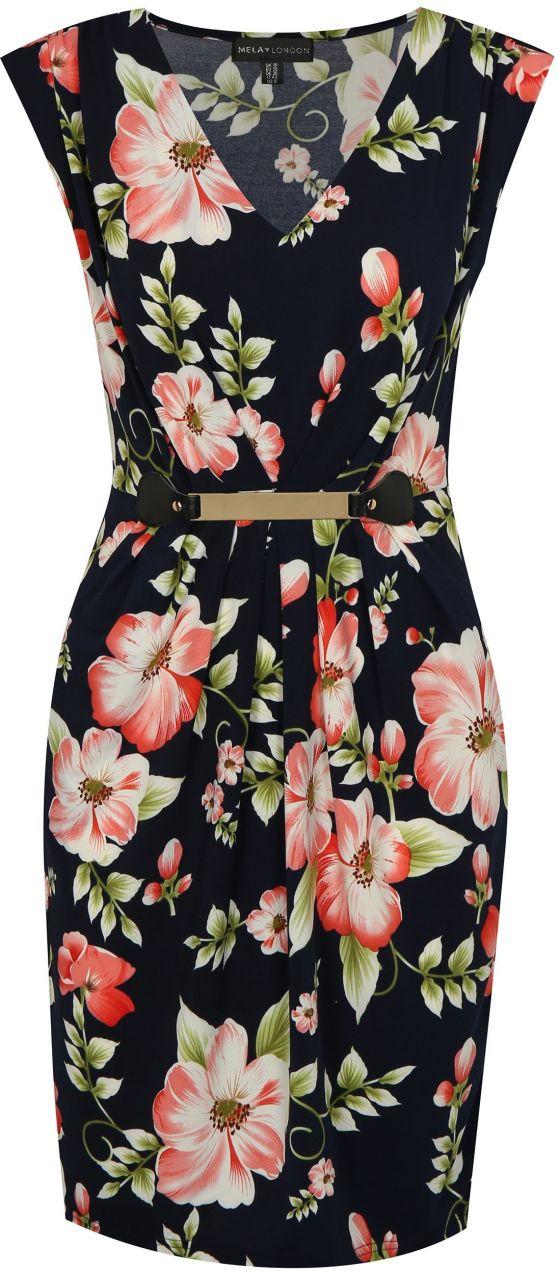 Tmavomodré kvetované šaty s kovovou aplikáciou Mela London značky ... 2042b7fdf0