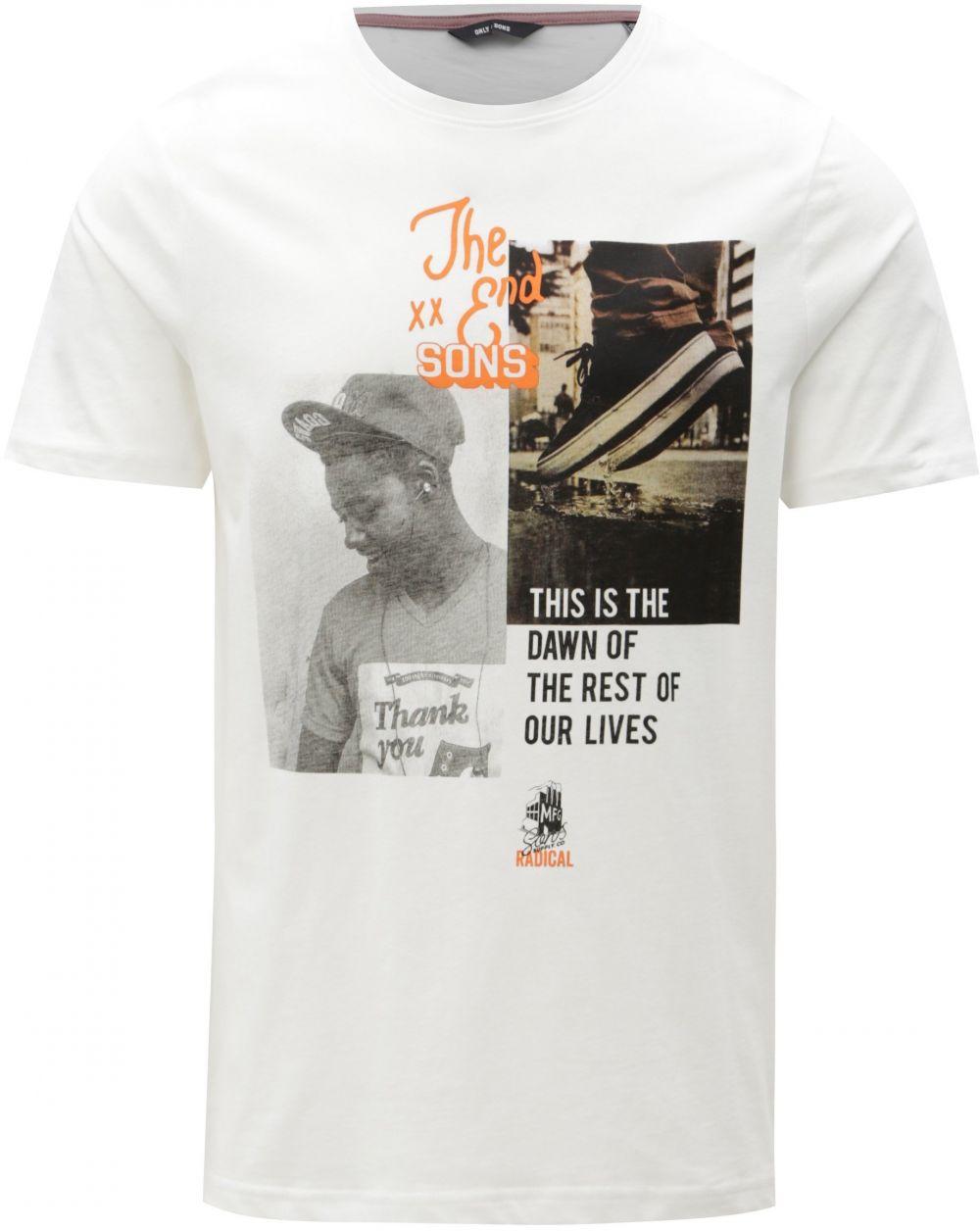 72190f5558358 Biele tričko s potlačou ONLY & SONS Gabriel značky ONLY & SONS - Lovely.sk