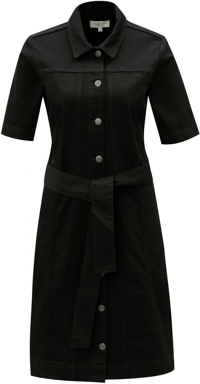 03ac03ab9850 Čierne košeľové šaty s opaskom Selected Femme Cat značky Selected Femme -  Lovely.sk