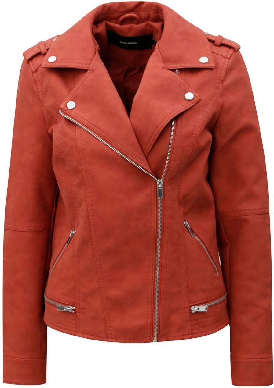 Tehlová koženková bunda VERO MODA World značky Vero Moda - Lovely.sk 677e8d5bf58