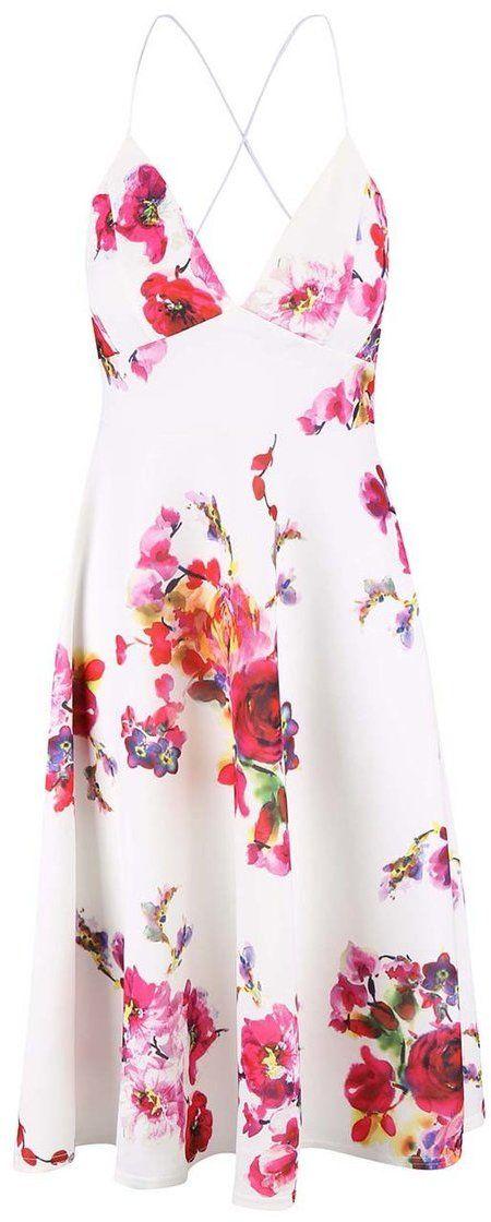 c1f23580e572 Biele šaty s ružovými kvetmi a úzkymi ramienkami AX Paris značky AX Paris -  Lovely.sk