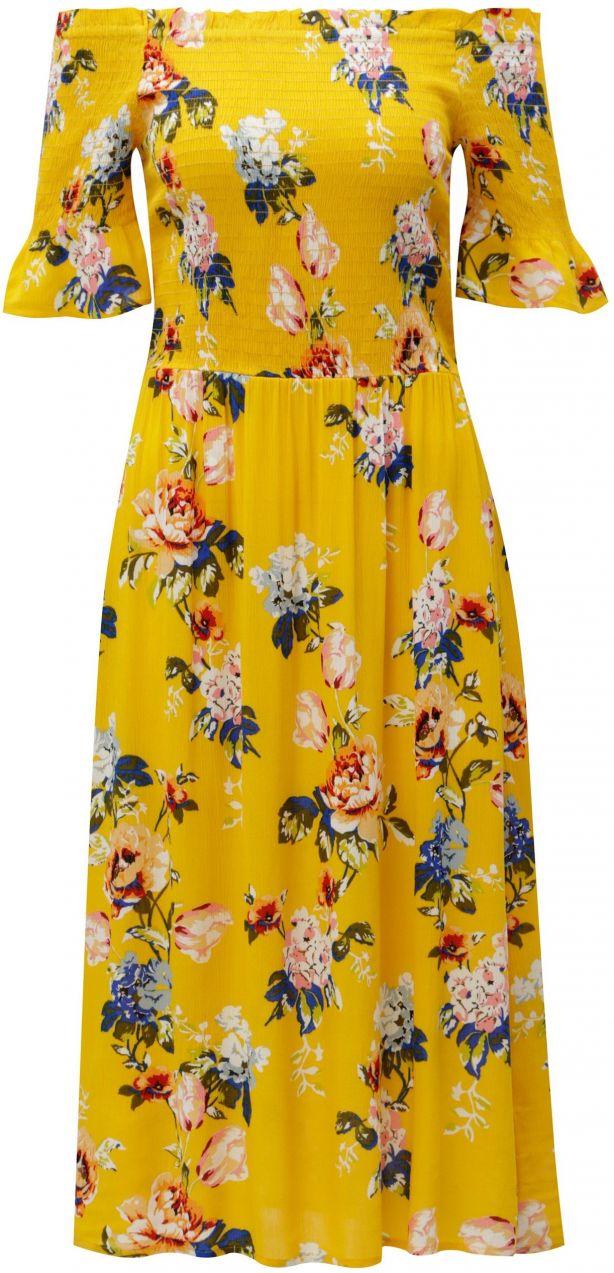 fa96df9e25f1 Žlté kvetované šaty s odhalenými ramenami Dorothy Perkins značky Dorothy  Perkins - Lovely.sk