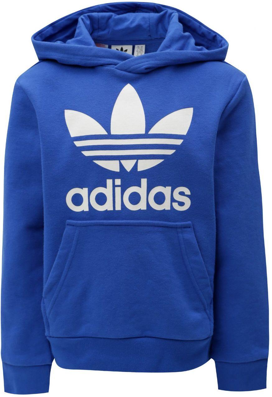 2bef2a2c3 Modrá chlapčenská mikina s kapucňou a klokaním vreckom adidas Originals  Trefoil značky adidas Originals - Lovely.sk
