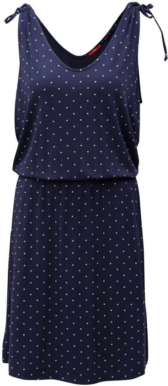 fe2c42362ca9 Modré vzorované šaty s elastickým pásom s.Oliver značky s.Oliver - Lovely.sk