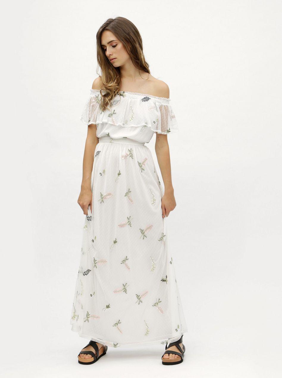 fbe825a949ec Biele kvetované maxišaty s odhalenými ramenami Dorothy Perkins ...