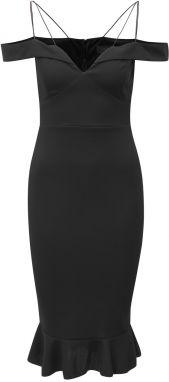 Čierne puzdrové šaty s odhalenými ramenami a volánom AX Paris 8d71f10b6a4