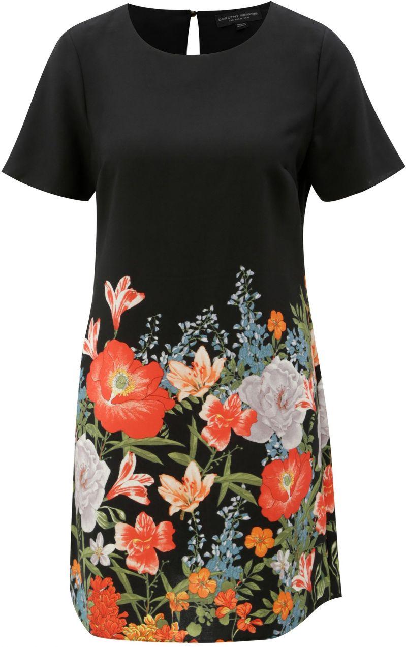 Čierne kvetované šaty s krátkym rukávom Dorothy Perkins značky ... b30c33a77a6