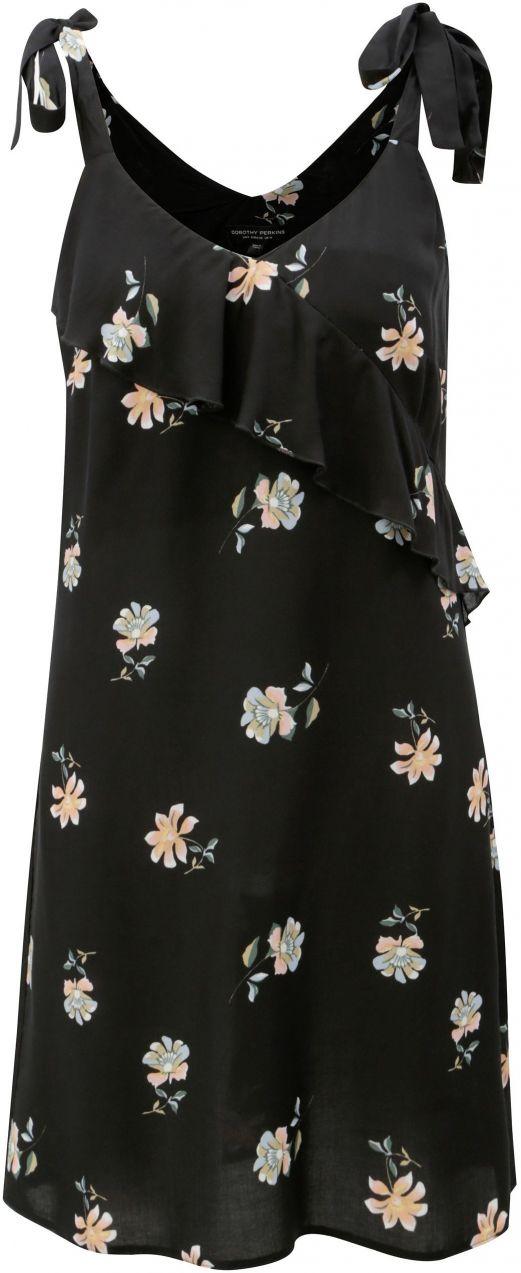74f7fc28a2b7 Čierne kvetované šaty na ramienka s volánom Dorothy Perkins značky ...