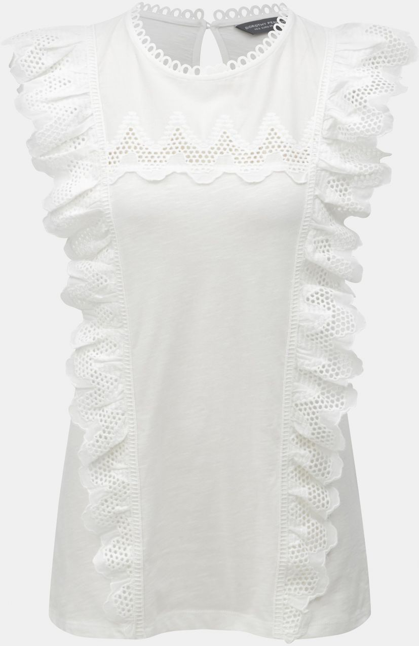 910b1db03e61 Biele čipkované tričko s volánmi Dorothy Perkins Tall značky Dorothy  Perkins Tall - Lovely.sk