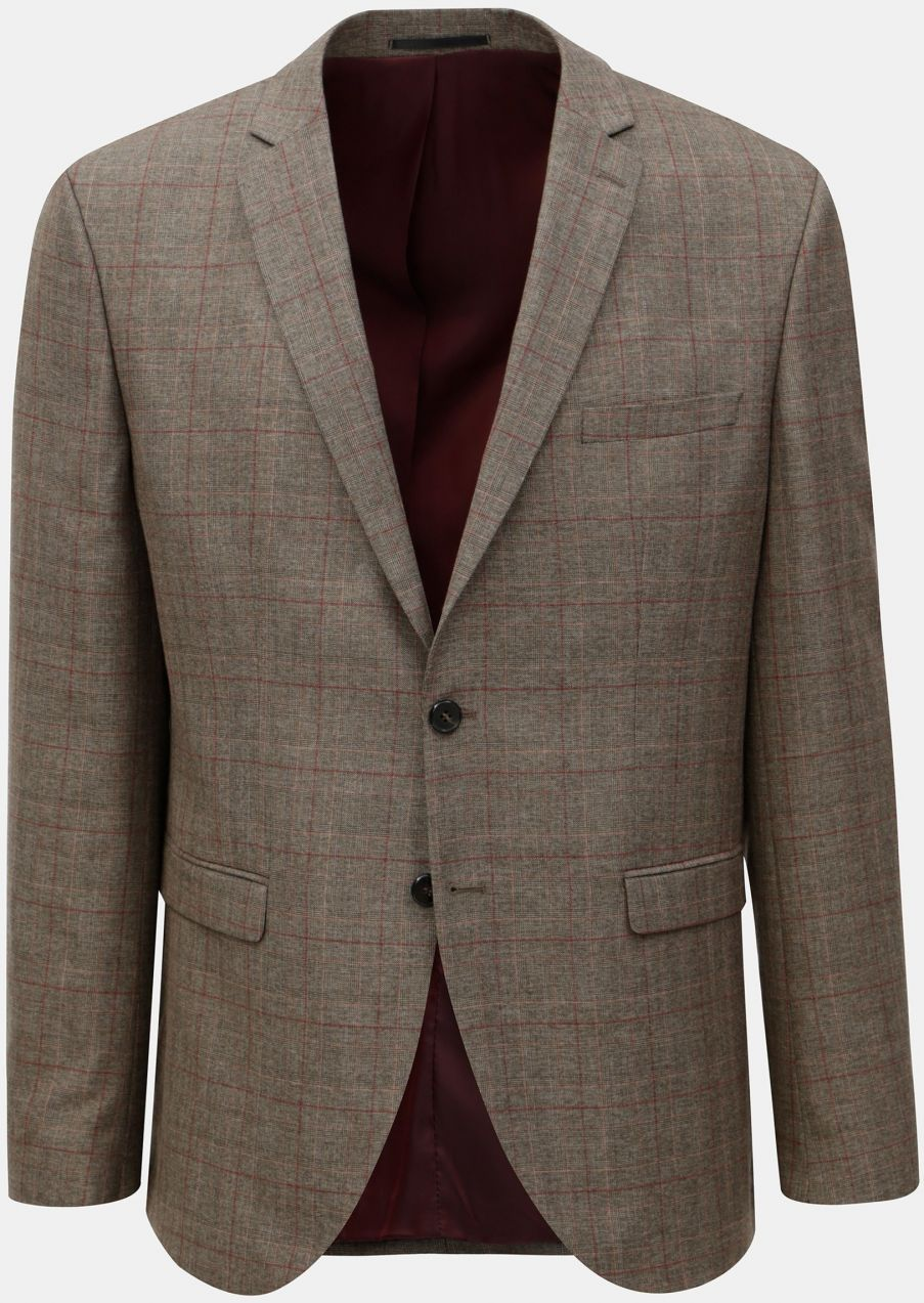 f50ec696f Hnedé kockované oblekové sako Selected Homme značky Selected Homme ...