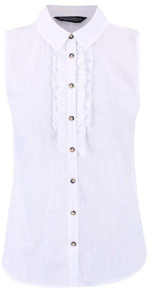 3466623146fe Biela košeľa bez rukávov s volánmi Dorothy Perkins značky Dorothy Perkins -  Lovely.sk