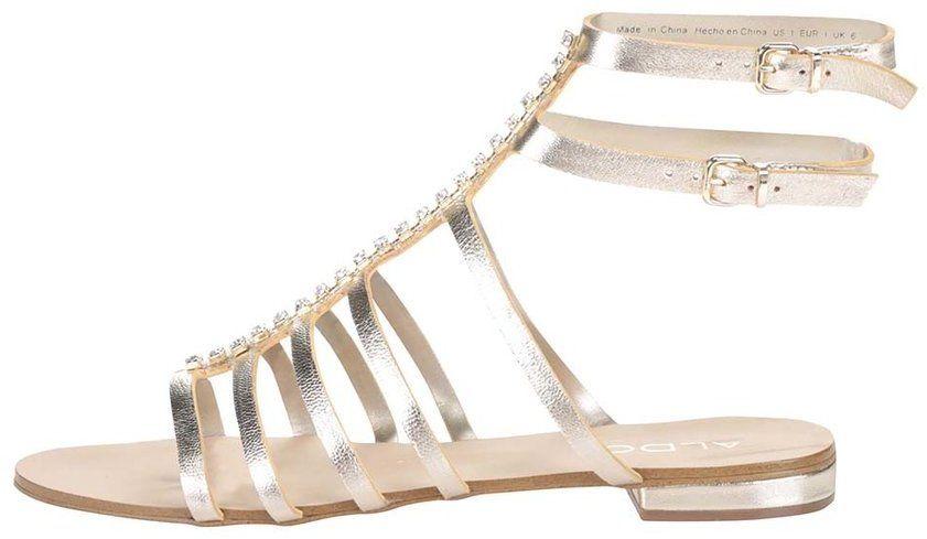 ea21ad6f51 Remienkové kožené sandále v zlatej farbe s kamienkami ALDO Fishwick značky  ALDO - Lovely.sk
