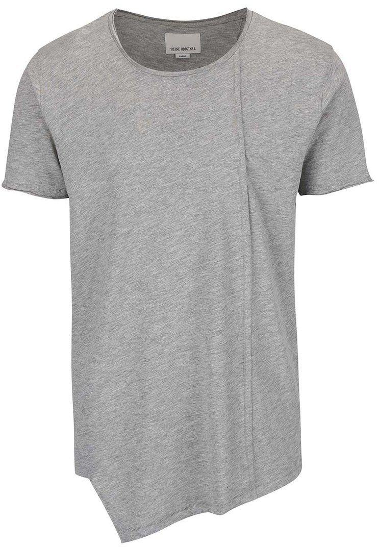 Sivé melírované asymetrické tričko Shine Original Long Oversize značky Shine  Original - Lovely.sk 9667ae153bb