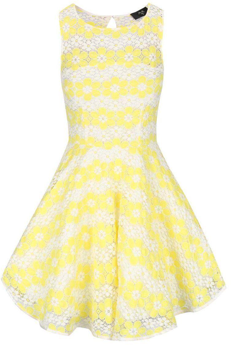 17cec0af8acb Žlté čipkované šaty s kvetmi AX Paris značky AX Paris - Lovely.sk