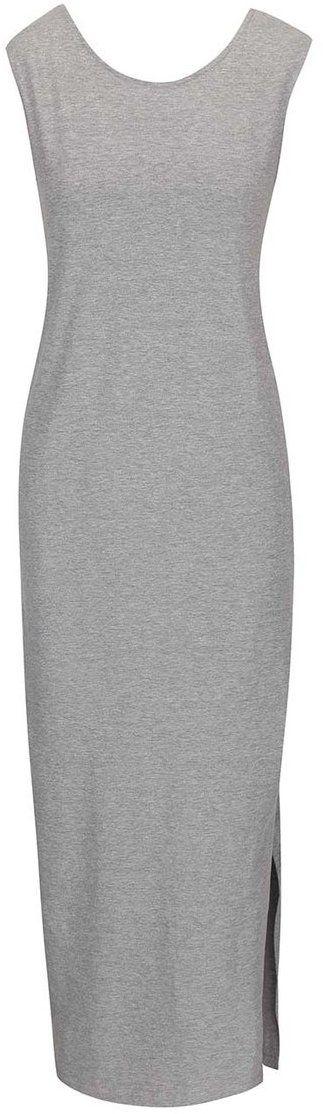 0d984df10 Sivé dlhé šaty s okrúhlym výstrihom ICHI Lalulu značky ICHI - Lovely.sk