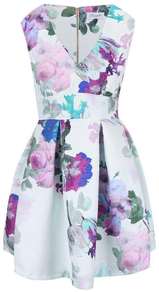 06651dbb8bc3 Biele šaty s fialovými kvetmi Closet značky Closet - Lovely.sk