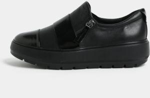 Čierne kožené slip on tenisky na platforme Geox Kaula ad1856f7352