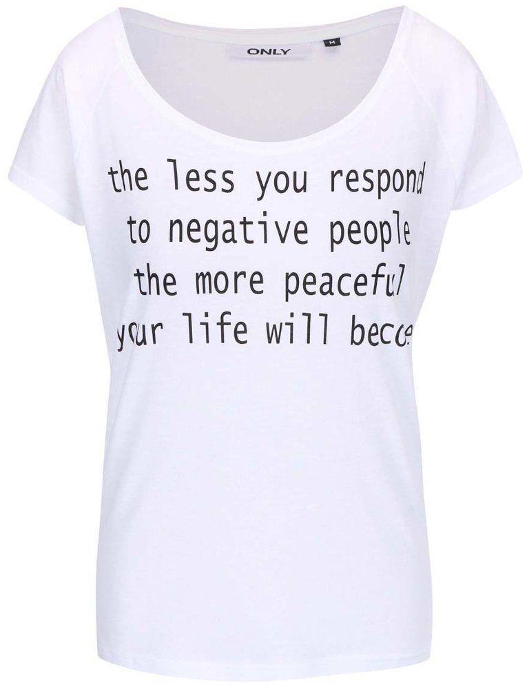 b566944484bbb Biele tričko s nápisom ONLY značky ONLY - Lovely.sk