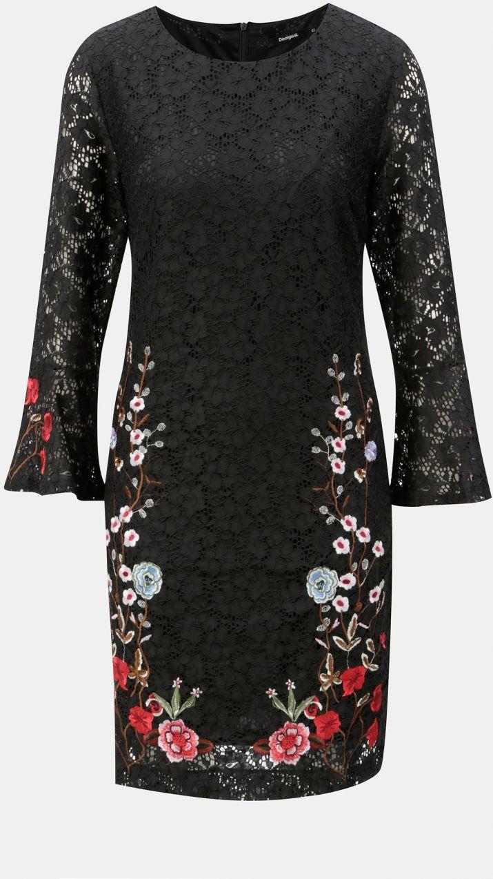 Čierne čipkované šaty s výšivkou Desigual Vermond značky Desigual ... 08bc6b5ab92