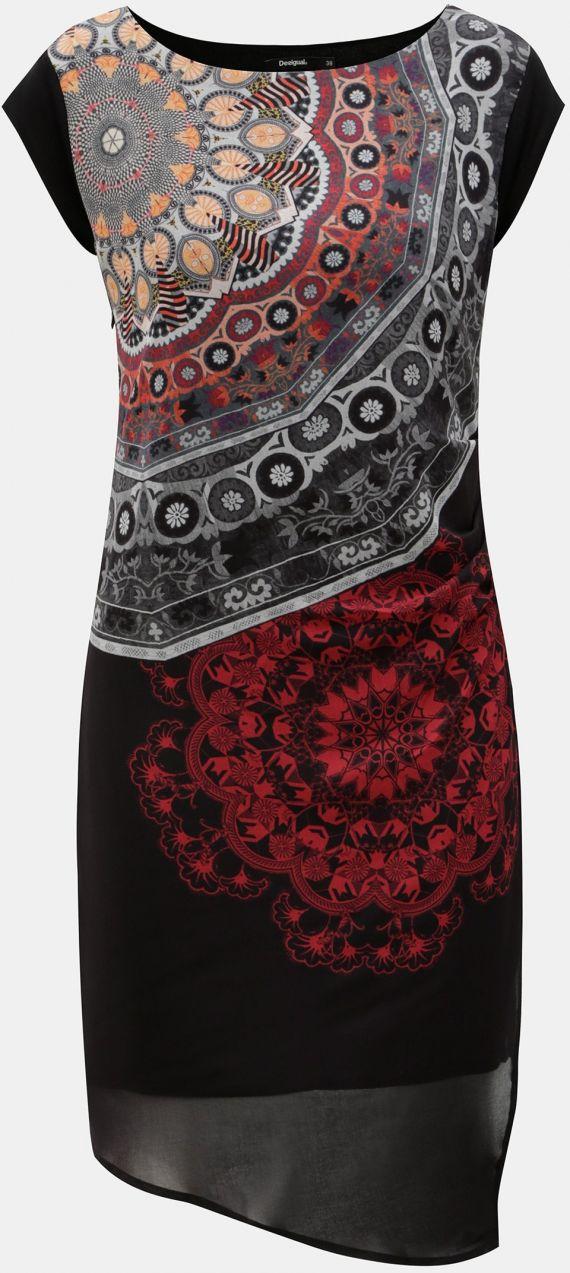 Sivo–čierne vzorované šaty s rozparkom Desigual značky Desigual ... aa25bd46e77