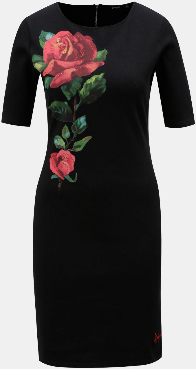 Čierne puzdrové šaty s kvetinovou potlačou Desigual Helga značky ... 2b045819b46