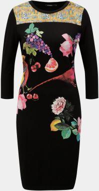 Čierne puzdrové šaty s potlačou a 3 4 rukávom Desigual Vanity e2c4d4e9539