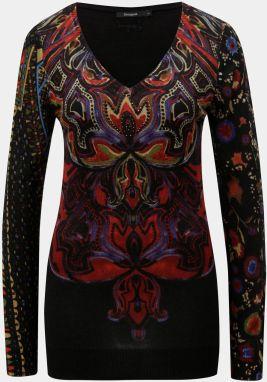Čierny vzorovaný sveter s prestrihmi na ramenách Desigual Shimla ... f29415223db