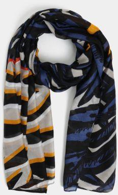 Čierna šatka so strapcami a farebným vzorom Desigual Triangl Spring ... 0f9637365b9