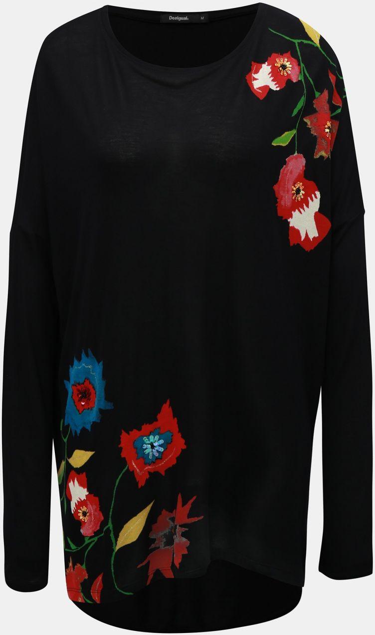 d4395aa61e07 Čierna tunika s potlačou kvetov a dlhým rukávom Desigual značky ...