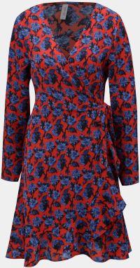 Modro-červené kvetované zavinovacie šaty s volánom Blendshe Trophy 3bf982a0c73
