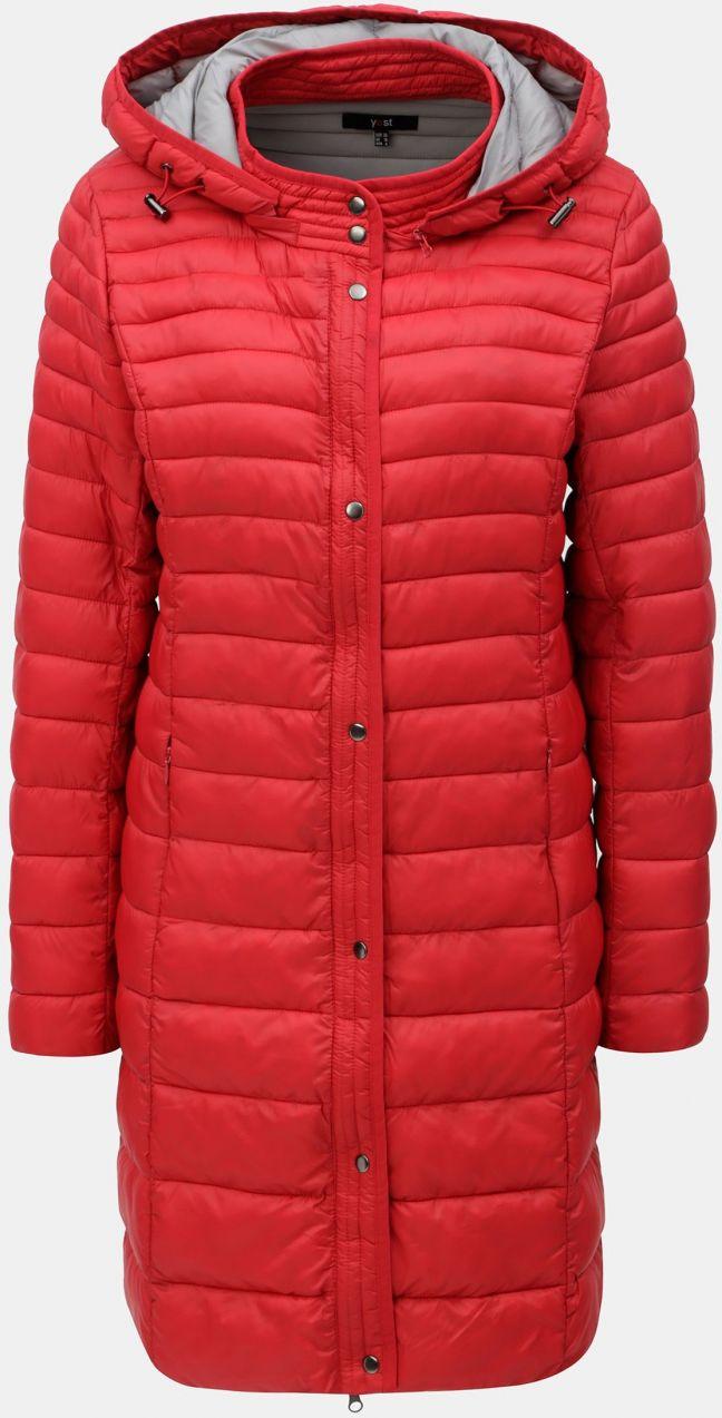 Červený prešívaný kabát s kapucňou Yest značky Yest - Lovely.sk dcd738c0eae