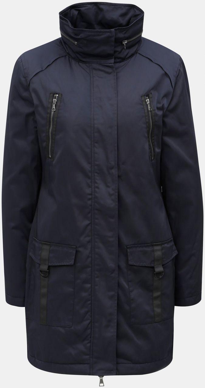 Tmavomodrá dlhá bunda s kapucňou v golieri Yest značky Yest - Lovely.sk 40a1ea29c10